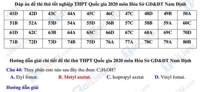 Đáp án đề thi thử tn THPT môn Hóa 2021 sở giáo dục Nam Định_1