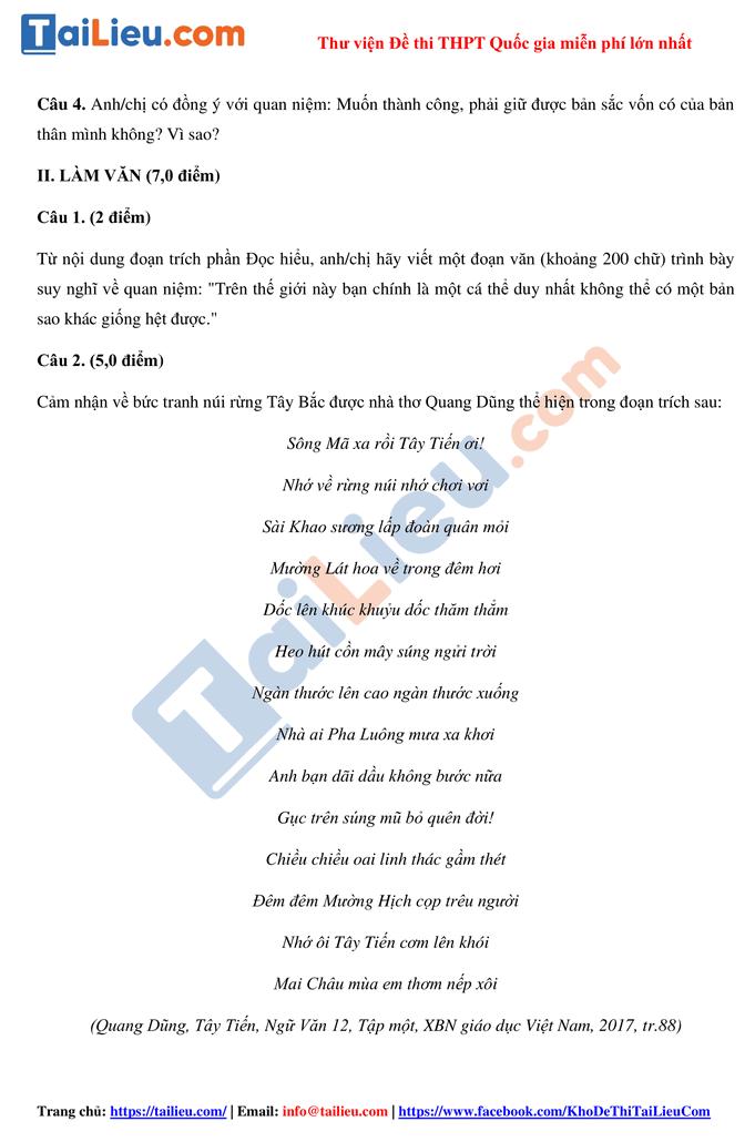 Đề thi thử THPT quốc gia 2021 môn Văn sở GD Nghệ An có đáp án_2