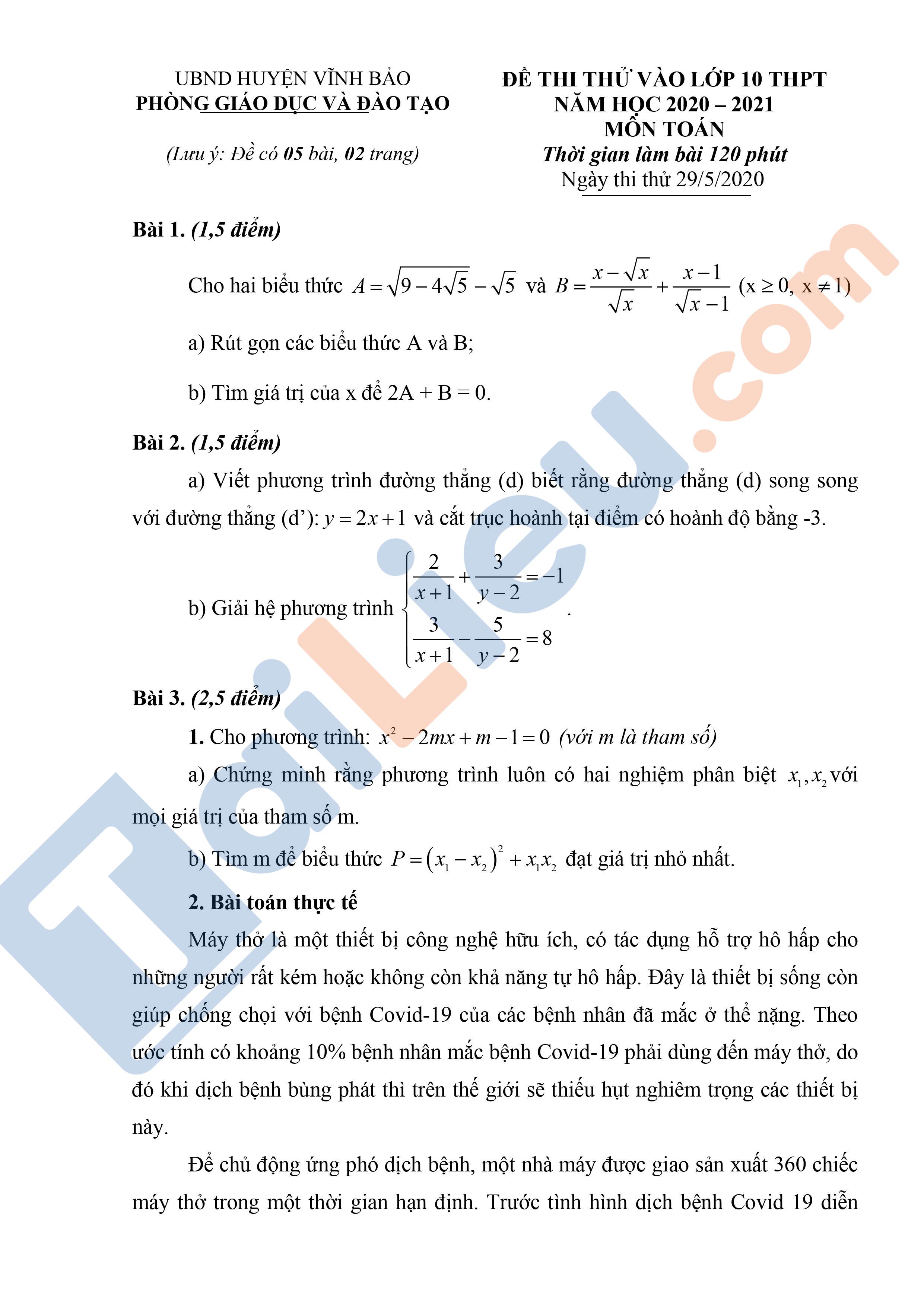 Đề thi thử vào lớp 10 môn Toán 2020 Phòng GD&ĐT Vĩnh Bảo - Hải Phòng