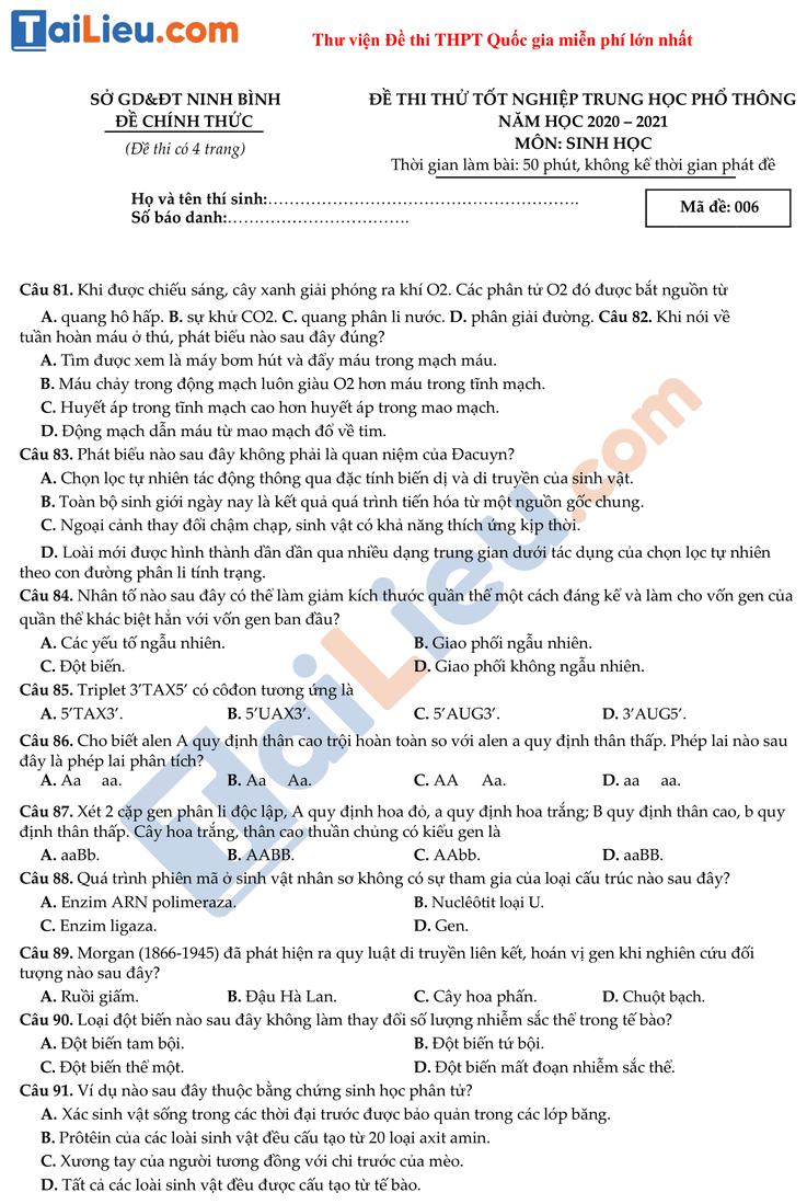 Đề thi thử THPT quốc gia 2021 môn Sinh sở giáo dục Ninh Bình có đáp án_1