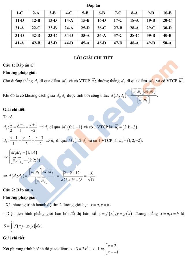 Đáp án đề thi đánh giá chất lượng lớp 12 năm 2021 môn Toán lần 1 chuyên KHTN HN_1