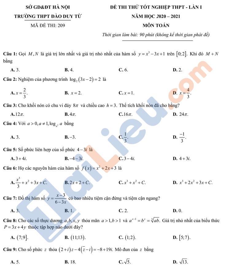 Đề thi thử TN THPT Quốc gia 2021 môn Toán trường Đào Duy Từ HN lần 1_1