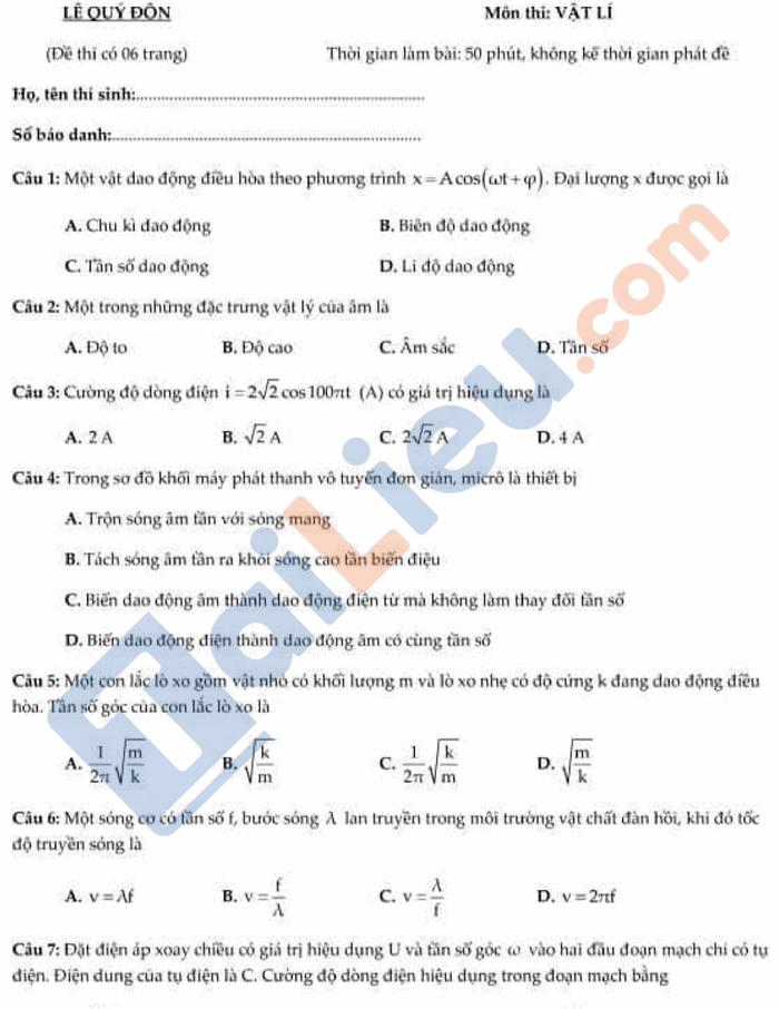 Đề thi thử THPT quốc gia 2021 môn Lý có đáp án trường chuyên Lê Quý Đôn Lai Châu_1