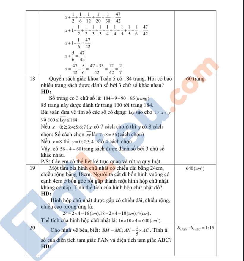 Đề thi vào lớp 6 môn Toán 2020 THCS Lương Thế Vinh - Hà Nội (có đáp án)