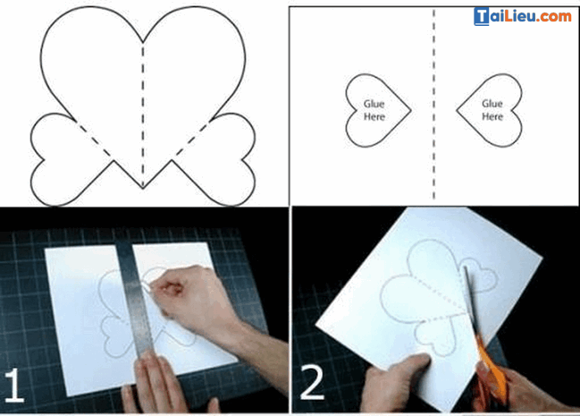 Cách làm thiệp 3D hình trái tim-1