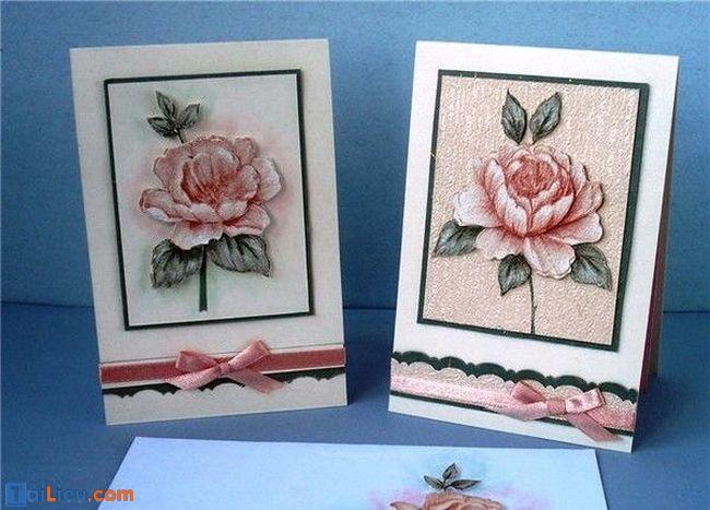 Cách làm thiệp 8-3 handmade hoa nổi