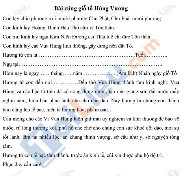 Bài văn cúng lễ giỗ tổ Hùng Vương 10/3 hay nhất