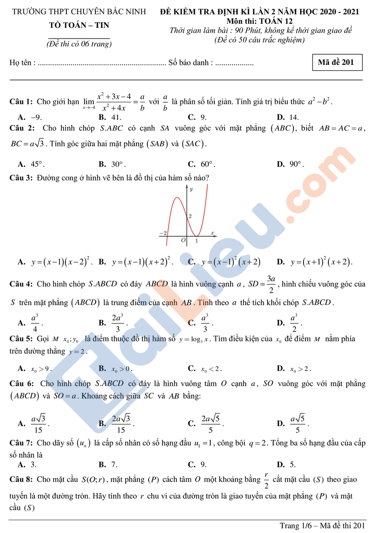 Đề kiểm tra định kì môn toán  lớp 12 lần 2 thpt chuyên bắc ninh năm 2020-2021_1