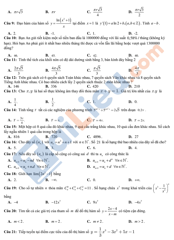 Đề kiểm tra định kì môn toán  lớp 12 lần 2 thpt chuyên bắc ninh năm 2020-2021_2