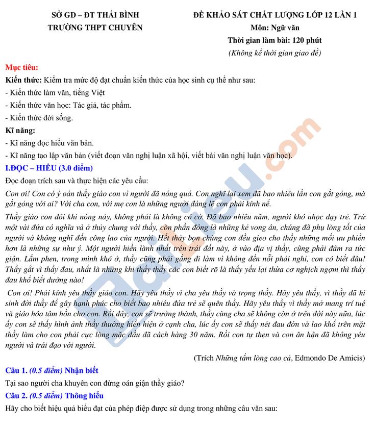 Đề KSCL môn Văn lớp 12 năm học 2020-2021 trường THPT Chuyên Thái Bình lần 1