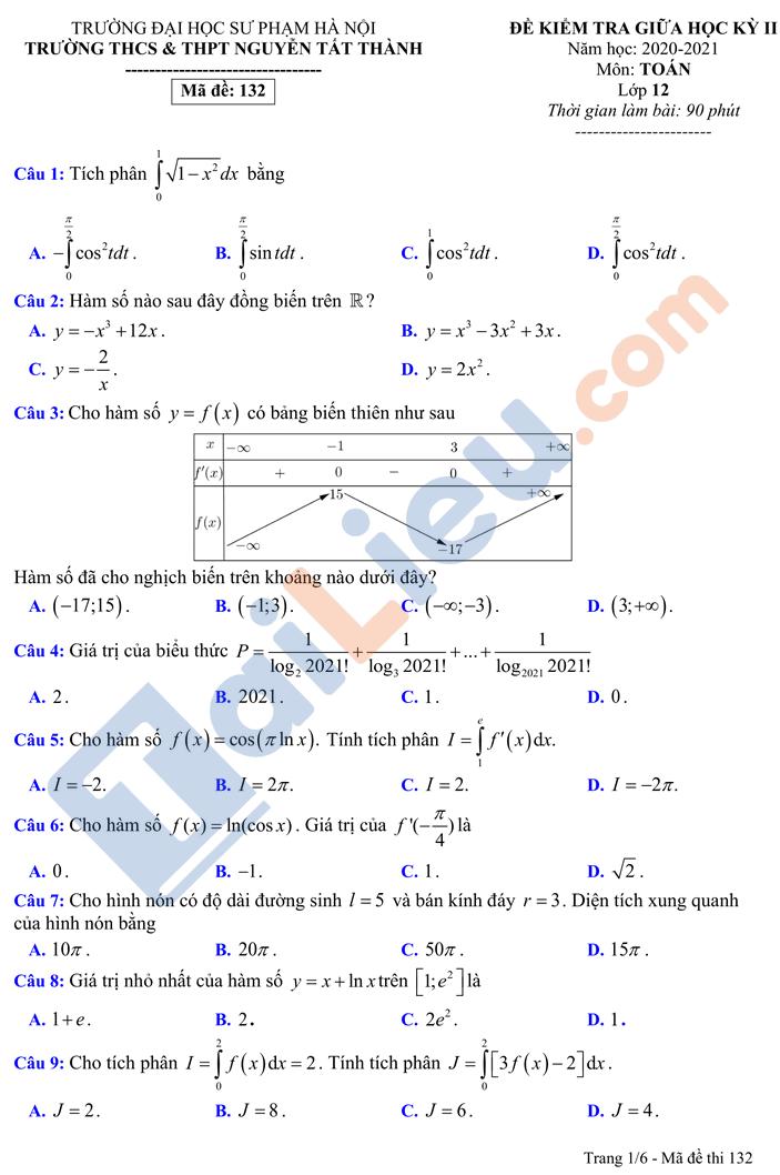 Đề thi giữa học kì 2 lớp 12 môn Toán 2021 Nguyễn Tất Thành Hà Nội_1