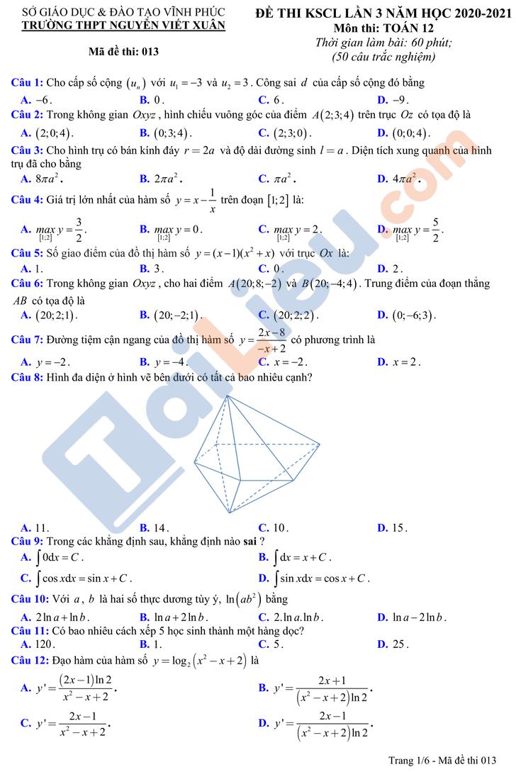 Đề thi KSCL lớp 12 năm 2021 môn Toán có đáp án THPT Nguyễn Viết Xuân lần 3_1
