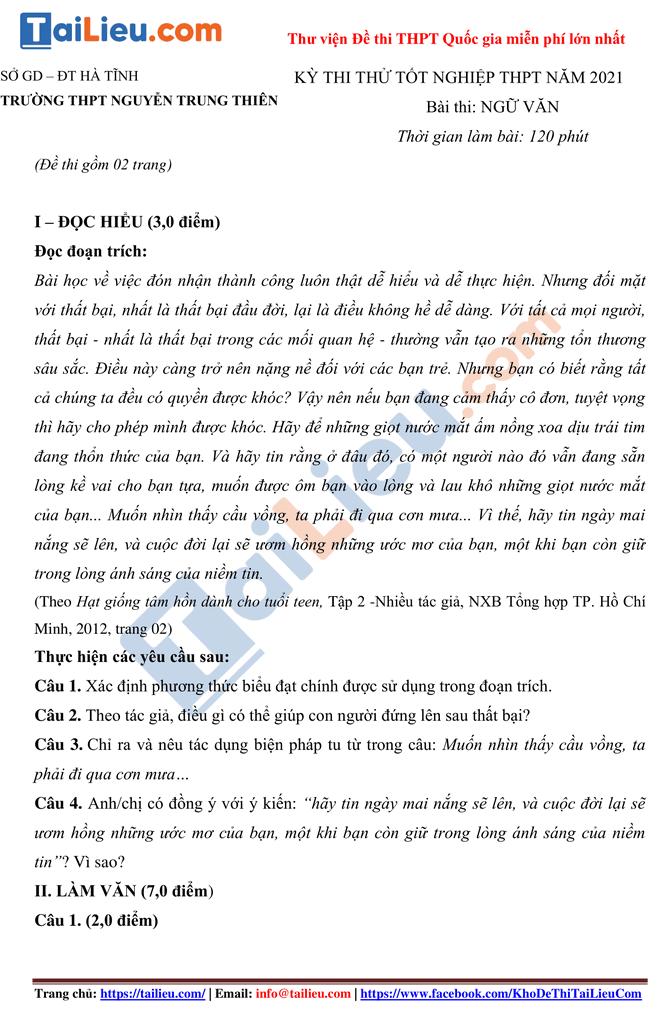 Đề thi thử THPT quốc gia 2021 môn Văn trường Nguyễn Trung Thiên Hà Tĩnh có đáp án