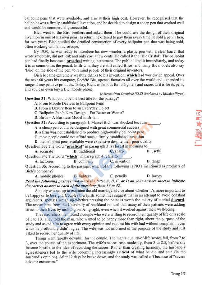 Đề thi tham khảo THPT Quốc gia Tiếng Anh 2021-3