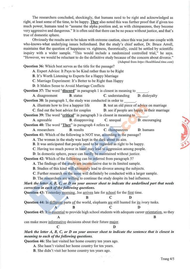 Đề thi tham khảo THPT Quốc gia Tiếng Anh 2021-4