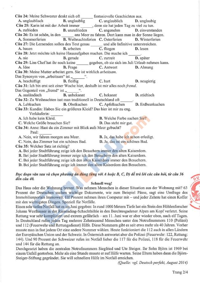 Đề thi tham khảo THPT quốc gia Tiếng Đức 2021-2