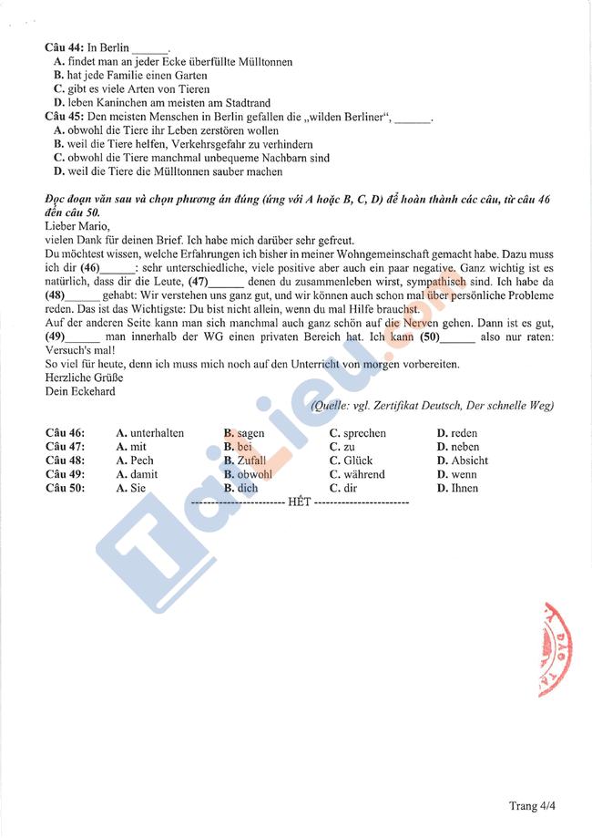Đề thi tham khảo THPT quốc gia Tiếng Đức 2021-4