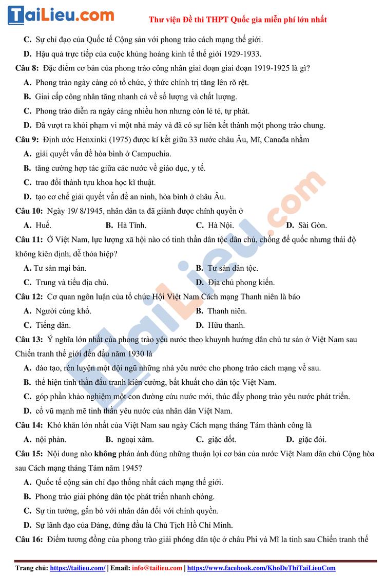 Đề thi thử môn Sử 2021 THPT quốc gia có đáp án lần 1 trường Nguyễn Trung Thiên_2