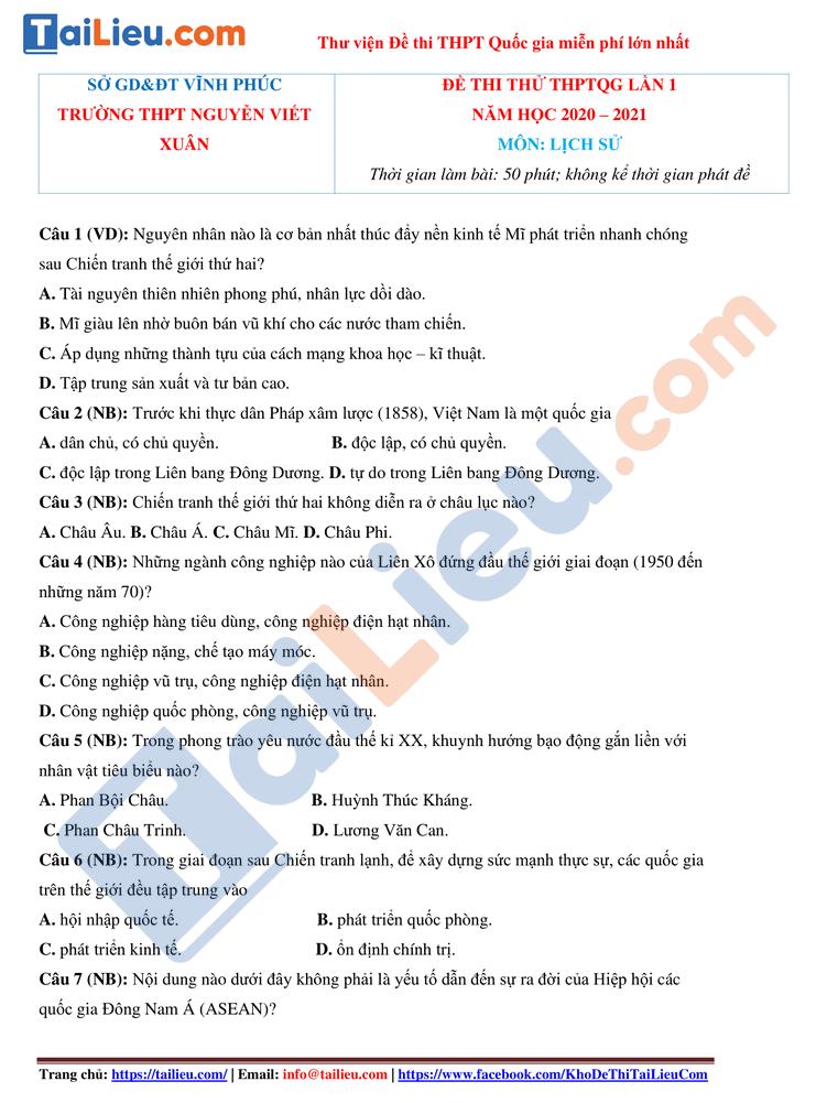 Đề thi thử sử 2021 lần 1 thptqg trường Nguyễn Viết Xuân Vĩnh Phúc_1