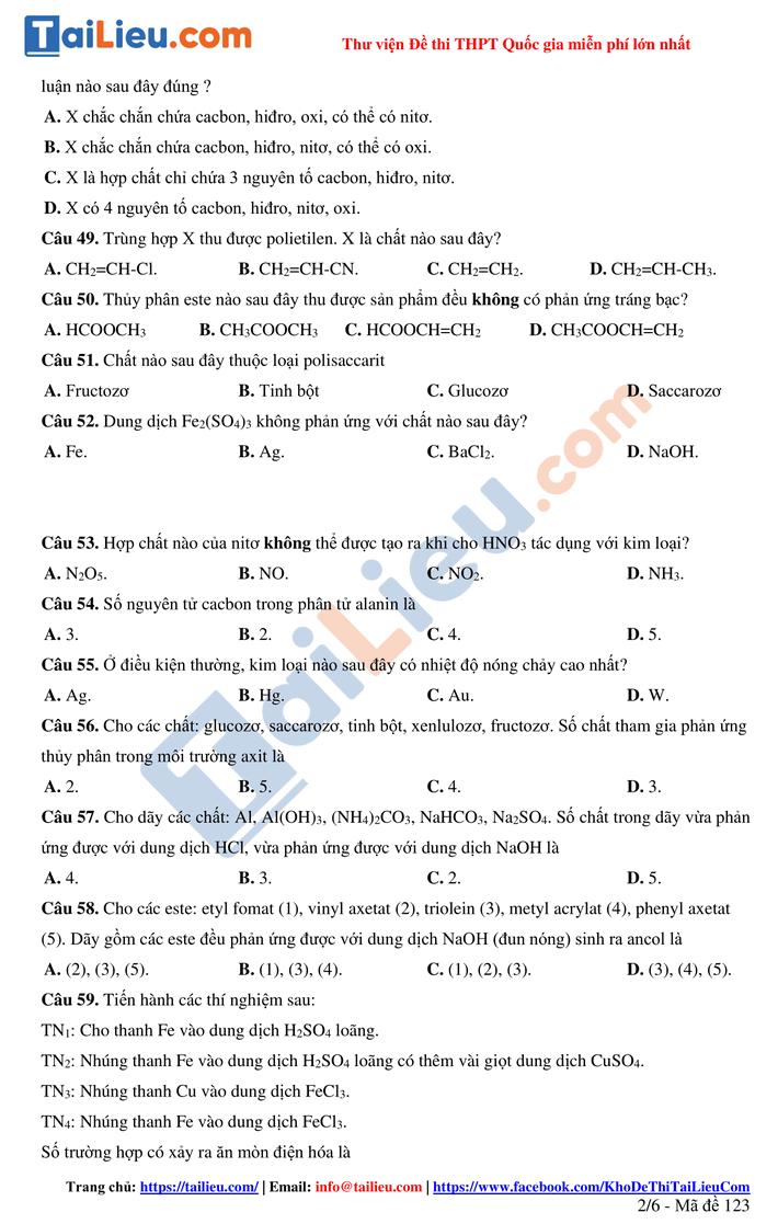 Đề thi thử THPT quốc gia 2021 môn Hóa lần 1 cụm Ninh Bình Hoa Lư_2