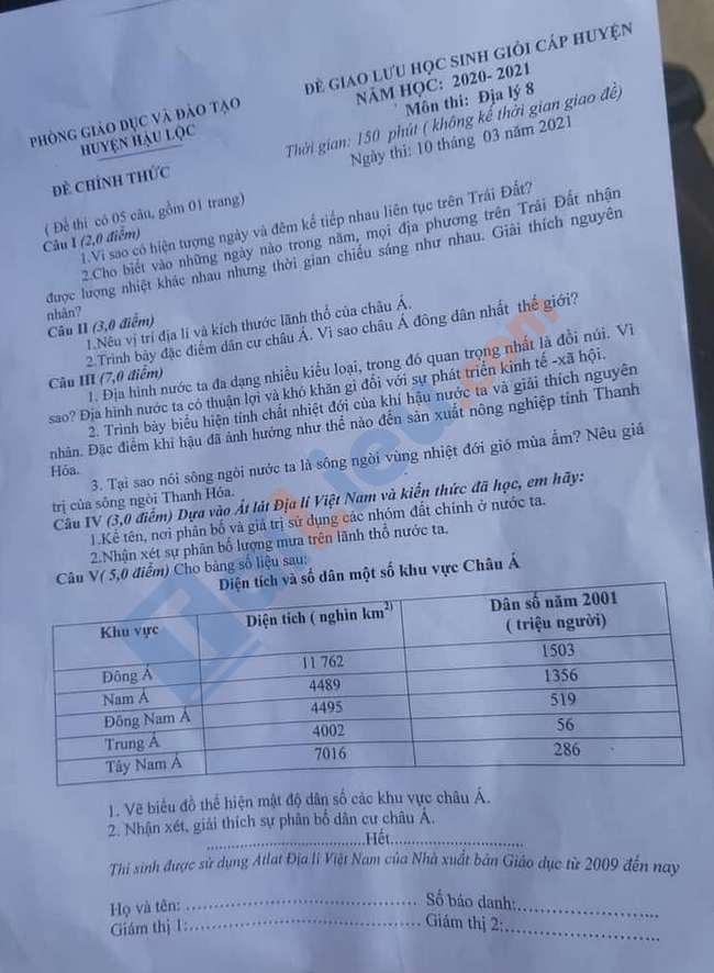 Đề thi HSG môn Địa  8 huyện Hậu Lộc 2021