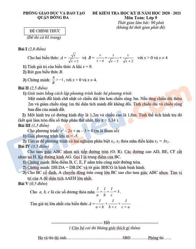 Đề thi học kì 2 Lớp 9 môn Toán 2021 Phòng GD&ĐT Đống Đa - Hà Nội