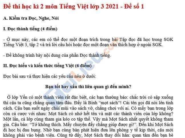 Đề thi HK 2 lớp 3 môn tiếng việt 2021 - Đề số 1-1