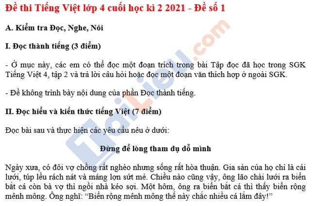 Đề thi HK 2 Tiếng Việt lớp 4 năm 2021 - Đề số 1-1