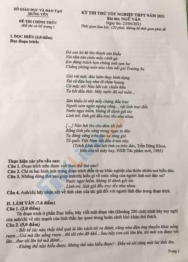 Đề thi thử tốt nghiệp THPT môn Văn tỉnh Hưng Yên 2021-1