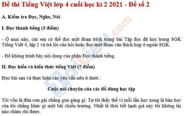 Đề thi HK 2 môn Tiếng Việt lớp 4 năm 2021 - Đề số 2-1