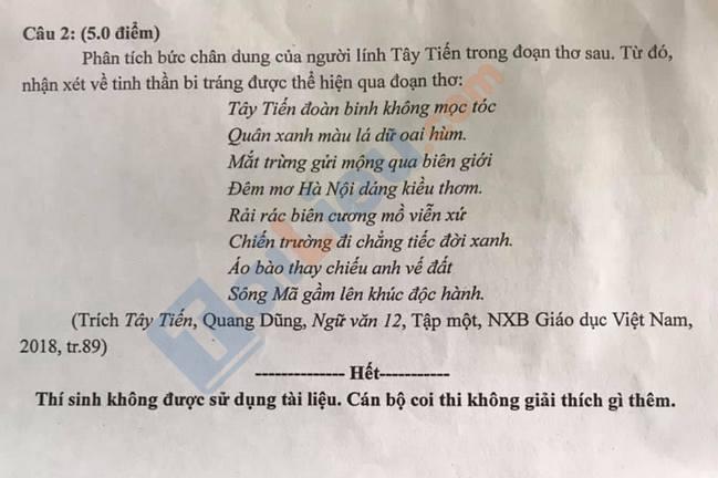 Đề thi thử THPTQG môn Văn trường THPT Phan Huy Chú lần 2 năm 2021-2