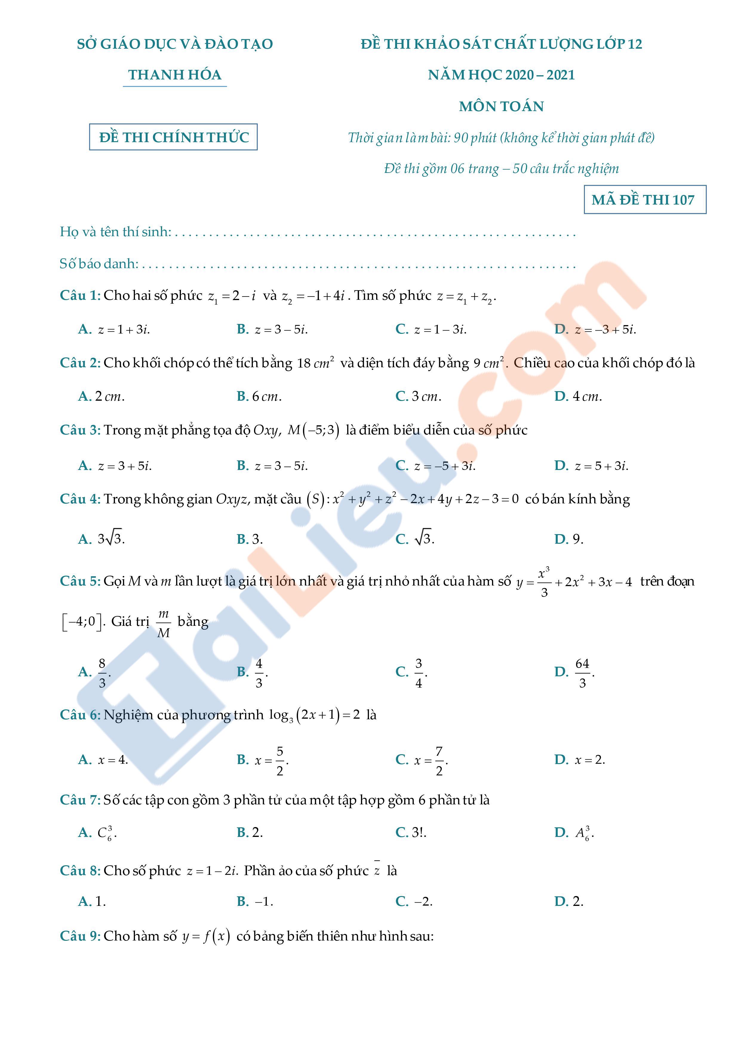 Đề thi KSCL lớp 12 năm 2021 môn Toán Sở GD&ĐT Thanh Hóa
