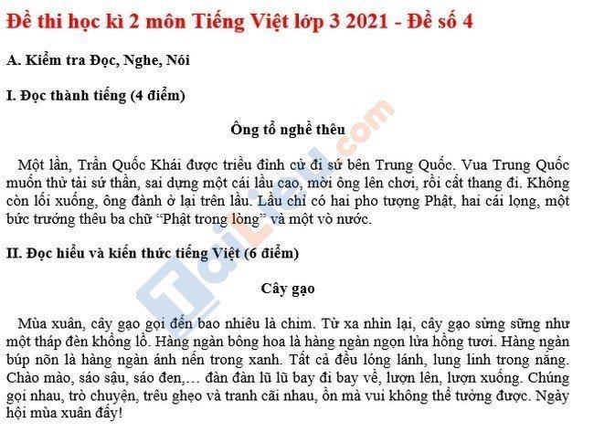 Đề thi HK 2 môn Tiếng Việt lớp 3 năm 2021 - Đề số 4-1