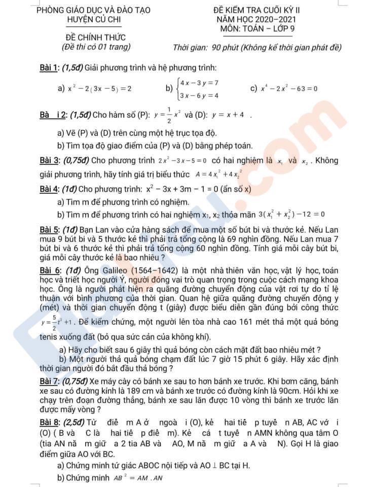 Đề thi học kì 2 Lớp 9 môn Toán năm 2021 Phòng GD&ĐT Huyện Củ Chỉ - Hồ Chí Minh