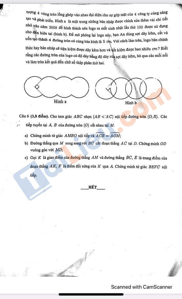 Đề thi học kì 2 Lớp 9 môn Toán năm 2021 Trường trung học thực hành Sài Gòn