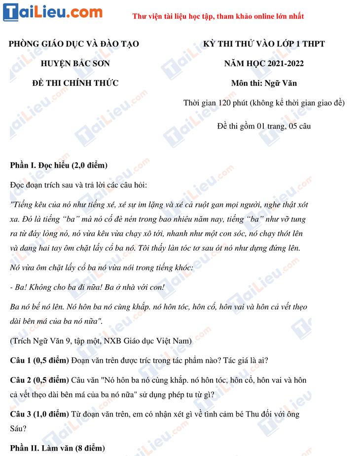 Đề thi thử vào lớp 10 môn Văn năm 2021 phòng giáo dục huyện Bắc Sơn