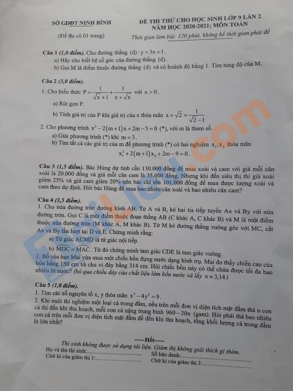 Đáp án Đề thi thử vào 10 môn Toán 2021 lần 2 Sở GD&ĐT Ninh Bình