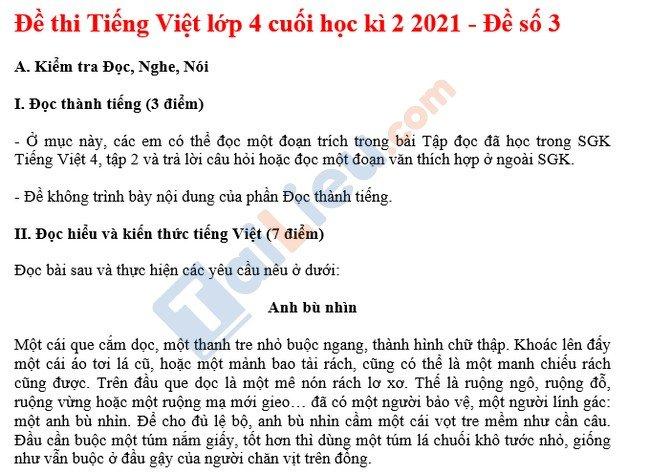 Đề thi hk 2 môn Tiếng Việt lớp 4 2021 - Đề số 3-1