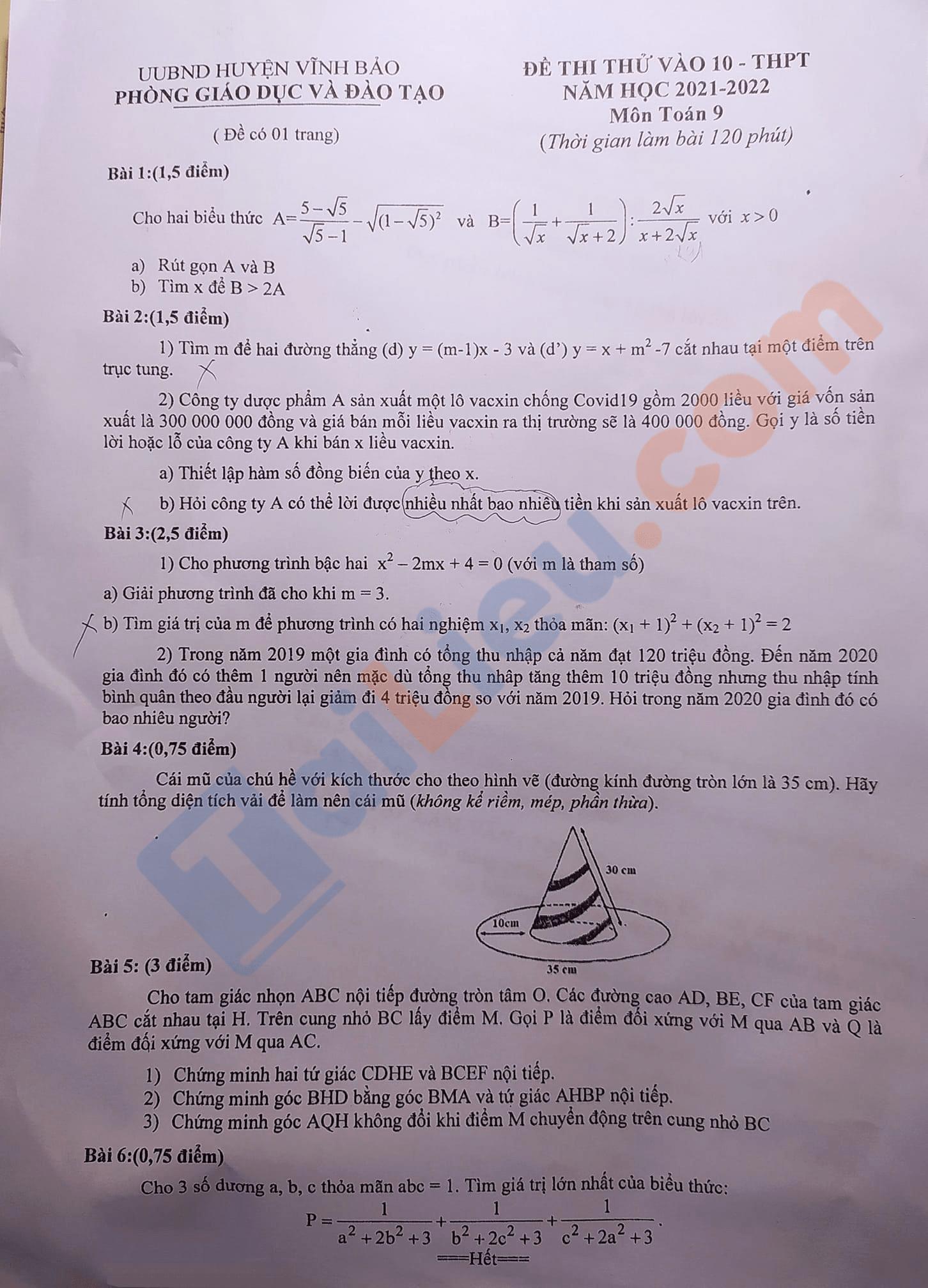 Đề thi thử vào 10 môn Toán 2021 Phòng GD Vĩnh Bảo - Hải Phòng