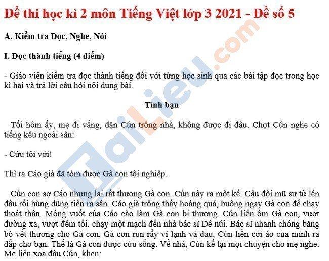 Đề thi HK 2 môn Tiếng việt lớp 3 năm 2021 - Đề số 5-1